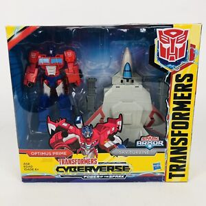 Transformers Cyberverse Optimus Prime & Spark Armor Sky Turbine Figure MIB Toy!
