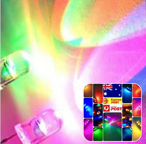 5mm LED Light Emitting Diode RGB SLOW flash Straw Hat 100pcs Clear Top 7 Colour