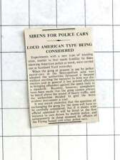 1936 Experiments With American Type Sirens For Police Cars Considered