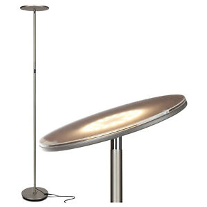 Brightech Sky Flux LED Torchiere Bright Standing Touch Sensor Floor Lamp, Nickel