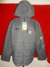 NEW Carhartt Gilliam Jacket  Rain Defender - Gray Coat Hoooded Logo L Large