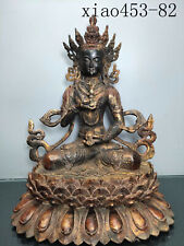 Old collection antique Chinese Old copper Fetal gold Cinnabar Buddha statue