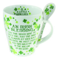 Clover Mug & Spoon Set Irish Blessing Dishwasher safe White Green Ceramic