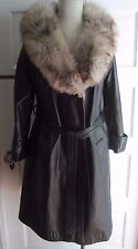 Vintage Fox Fur Collar Trim Black Leather Long Trench Coat Womens 12 Tie Belted