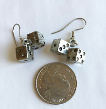Tumbling Dice Pewter Charm Dangle Earrings Handmade