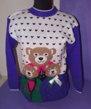 Vtg NWT New NOS Hot Fudge Ugly Christmas Purple Sweater Bears Bow Womans M L