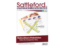100 Sattleford Klebefolien A4 Tintenstrahldrucker Inkjet Sticker transparent