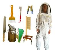 OZ ARMOUR BEEKEEPING SEMI VENTILATED BEE SUIT STARTER KIT SMOKER BEE BRUSH