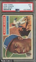1956 Topps #31 Hank Aaron HOF Milwaukee Braves PSA 5 EX GRAY BACK
