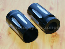 Black CNC Deep Edge Cut Fork Boot Slider Cover Cow Bell For Harley Touring 86-13