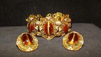 Rare Signed HOBE Gripoix Glass Vintage Couture  Etruscan Bracelet & Earrings Set