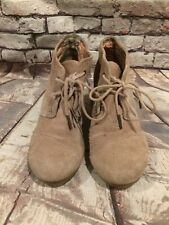 TOMS Desert Wedge Ankle Boots Women's SZ 8 Tan Suede
