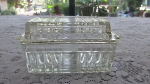 Vintage  Depression Glass Art Deco Glass Butter Dish with Cover