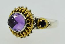 Barbara Bixby 18k Yellow Gold Sterling Silver Faceted Amethyst Ring Size 8