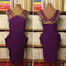 WHISTLES 100% silk purple strappy draped cocktail party knee length dress UK 8