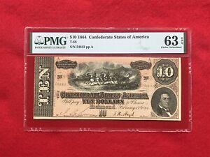 T-68 1864 $10 Ten Dollar CSA Confederate Note *PMG 63 EPQ Choice Uncirculated*