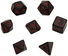 Q-Workshop Polyhedral 7-Die Carved Elvish 7 Dice Set Black/Red QWS SELV06