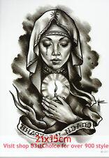 UK 21X15CM Praying woman Half Sleeve Temporary Tattoo ARM BACK