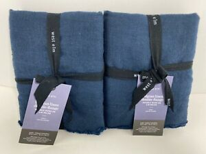 West Elm Belgian Linen Double-Flange Pair of EURO Pillow Shams Midnight Navy NWT