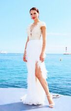 Mac Duggal 2 XS White Lace Feather Beads Embellished Open Back Dress Gown Rt$599