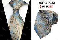 Light Blue Brown Cream Tie Paisley Pattern Handmade 100% Silk Necktie 8cm Width