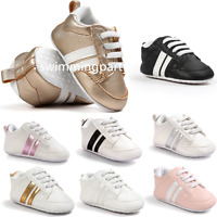 Toddler Pre-Walker Stripe Sneakers Infant Baby Trainers Boy Girl Crib Shoes 0-18