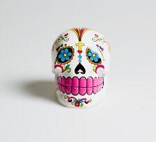 Mexican Sugar Skull Design Polystone Money Box Bright Colours Flowers Gift