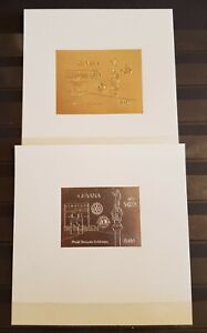 GUYANA 1992 WORLD TEMATIC EXHIB. COLUMBUS 2 STAMPS +4 BLOCKS SPECIMEN GOLD &SILV