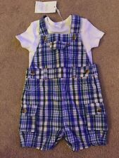 RAGAZZI MINI CLUB BABY ESTATE Dungaree & T.SHIRT Short Set Taglia 3-6 Mesi NUOVO!