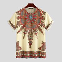African Shirts Mens Short Sleeve Tops Ethnic Kaftan T-Shirt Half Zip Blouse Tee