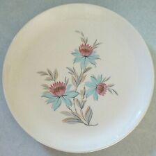 "Steubenville Fairlane dinner plate 10"" pink/blue Lotus flowers, gray leaves"
