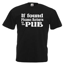 If Found Return To Pub Funny Mens Adult T Shirt