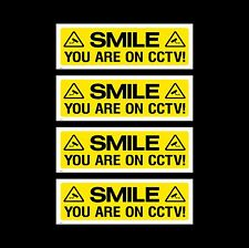 CCTV Sign, Sticker Pack of 4 - 300mm x 100mm - Security, Camera, Warning (MISC3)