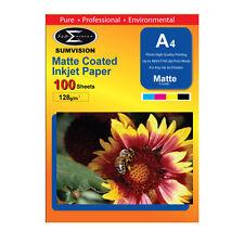 SUMVISION MATTE COATED A4 INKJET PRINTER PHOTO PAPER 128GSM 100 SHEETS 5760DPI