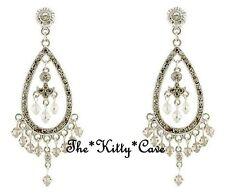 Vintage Silver Ethnic Colonial Indian Chandelier Drop Earrings w/ Swarovski Gems