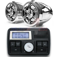 Chrome Motorcycle Bluetooth Handlebar Audio System Radio Stereo MP3 AUX Speakers