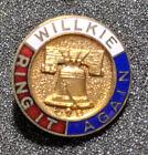 Vintage Wendel Willkie Ring It Again Enameled Lapel Stud Back Pinback