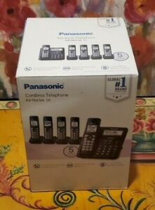 Panasonic KX-TG6145 SK Bluetooth 5-handset Phone Bundle White Backlit Call Block