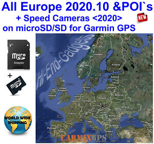 2020 EUROPE All Countries +Speed Cameras - City Maps nt for Garmin GPS Navigator