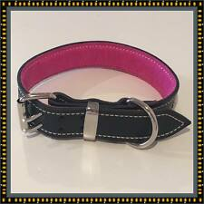 Large Black Leather Dog Collar with Soft Pink Leather Suede Inner Lining