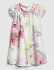 NWT New Baby Gap Girl Floral Puff-Sleeve Dress Ivory Frost 3T
