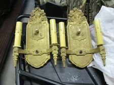 Pair Rewired Vintage Antique Markel Cast Iron Sconces Light Knight & Shield 2