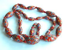 long necklace 87g Red Yellow vintage millefiori glass Venetian beads