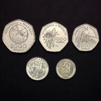 ST Thomas & Prince Set 5 Coins, 100, 250, 500,1000, 2000 Dobras, 1997, UNC