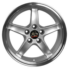 """17"""" Ford Mustang Cobra R Style Rims Wheels Replacement Silver New Set of 4 17x9"""