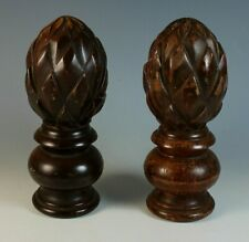 Pair Vintage Carved Solid Wood Newel Post Finial Cap Topper