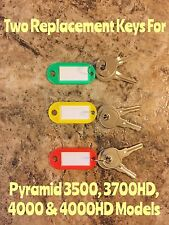 Two Replacement Keys For Pyramid 3500 3700 4000 Amp 4000hd Time Clock Models
