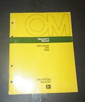 John Deere 210 Disk Operator's Manual P/N OM-A22734 Issue D3