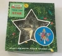 Vintage Beacon Silver Tinsel 11 Light Tree Topper Star In Original Box