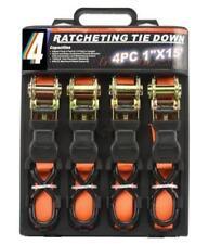 4PC HEAVY DUTY RATCHET TIE DOWN CARGO STRAPS 4.6 Metre/1 Inch 15'/25MM ORANGE CH